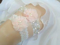 Pink Garter Set Blush Garter Set Wedding Garter Set by TIdesigns