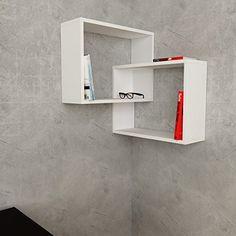 White or Oak colour. Link Corner Shelf, Unique bookshelf for living room, study. By Modern Furniture Deals, UK