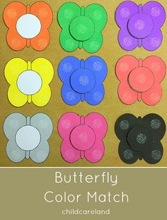 Butterfly Color Match … great for toddlers and preschoolers. – Shelley Lovett @ childcareland Butterfly Color Match … great for toddlers and preschoolers. Butterfly Color Match … great for toddlers and preschoolers. Preschool Colors, Teaching Colors, Preschool Themes, Toddler Preschool, Toddler Learning, Preschool Crafts, Bug Activities, Spring Activities, Color Activities