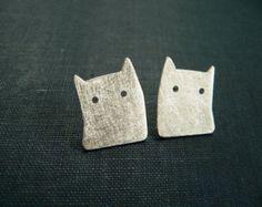 Pequeños gatitos  par de aros  Plata 925