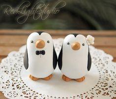 Penguin Wedding Cake Topper - Medium on Etsy, $120.00