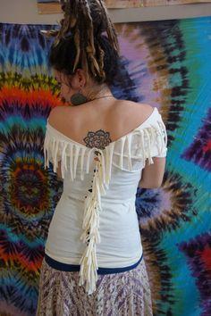reconstructed tribal tassel lunar goddess shirt by emkell on Etsy
