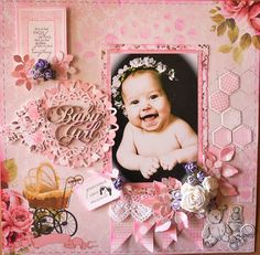 ADRIANA BOLZON Kaisercraft Pitter Patter Scrapbook Layout Sketches, Scrapbooking Layouts, Scrapbook Journal, Scrapbook Albums, Anna Griffin Inc, Baby Girl Scrapbook, Baby Girl Cards, Writing Art, Specialty Paper