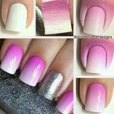 Bright pink to white fade sponge technique ombré how to nail art easy free hand nail art