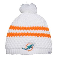 brand new e8d3b 32433 Miami Dolphins  47 Brand Womens Kendall Uncuffed Pom Knit Beanie – White Miami  Dolphins Hat