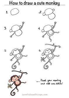 Easy Doodles Drawings, Easy Doodle Art, Easy Drawings For Kids, Simple Doodles, Drawing For Kids, Cute Drawings, Art For Kids, Monkey Drawing Easy, Cute Monkey