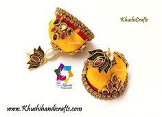 Yellow Red Silk thread Kundan Jhumkas with Lotus stud – Khushi Handicrafts Thread Jewellery, Beaded Jewelry, Handmade Jewelry, Diy Jewellery, Silk Thread Jhumkas, Oxidised Jewellery, Red Silk, Agate Beads, Handicraft