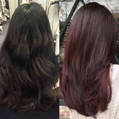 Downtown campbell: burgundy balayage by Best Ombre Hair, Ombre Hair Color, Burgundy Balayage, Burgundy Highlights, Burgendy Hair, Colored Curly Hair, Auburn Hair, Hair Videos, Pretty Hairstyles