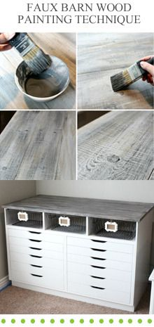 Faux barn wood painting technique - trunk project; love how they added the wood plugs for a more rustic feel. #DIY #paint #aged #technique #furniture