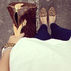 Sam Edelman leopard smoking shoe, louis vuitton monogram speedy, denim, loose tee = perfection. :) have all of this!!