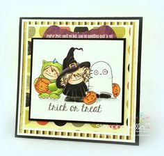 Stamping Bella SNEAK PEEK day 4- SQUIDGY witchy TRICK OR TREATER + FALL sentiment RUBBER STAMP CARD BY SANDIE DUNNE