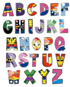 Superhero Alphabet poster 16x20 and letter pack por RKRcreations