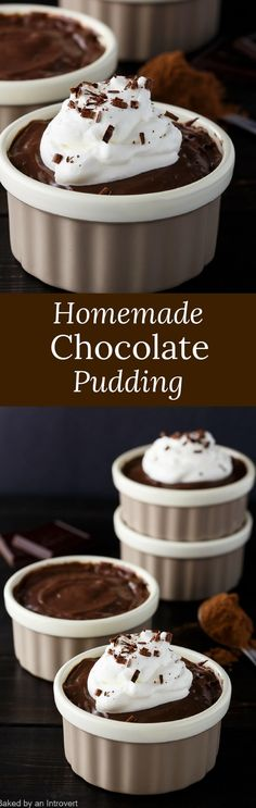 Enjoy this easy recipe for Chocolate Pudding Dessert made from scratch. Your guests will be impressed with this fancy classic custard. via @introvertbaker