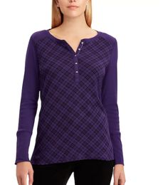 purple plaid henley top