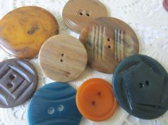 Vintage Buttons  Cottage chic lot of 8 large  by pillowtalkswf, $9.95