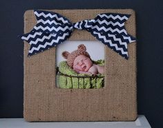 Burlap Frame with a Navy Chevron Bow-Nautical by AnnaKayDesigns