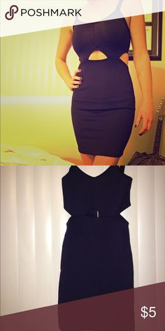 Peek-a-Boo Dress Dark purple (with black straps & zips in back), peek-a-boo sides & middle mini dress perfect for clubbing or a night on the town. From H&M, never worn, still has tags. H&M Dresses Mini