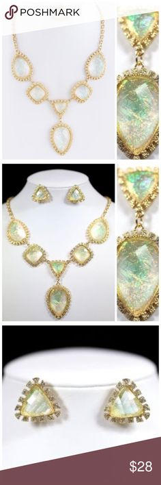 """D7 Nacre Iridescent Gold Pear Shape Necklace Set ‼️ PRICE FIRM UNLESS BUNDLED WITH OTHER ITEMS FROM MY CLOSET ‼️    Nacre Necklace  Really fun and stylish necklace and earring set.  Sure to dress up any outfit.  Textured gold color metal adorned with lightweight iridescent acrylic nacre.   Lobster clasp.  Necklace is approximately 20"""" long including a 3"""" extender chain.  Earrings are approximately 1"""". Jewelry Necklaces"""