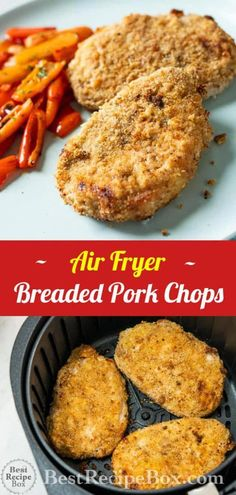 Air Fryer Breaded Pork Chops Crispy Air Fryer Breaded Pork Chops Recipe is the best Air Fried Crusted Pork Chop dinner! & Best Recipe Box The post Air Fryer Breaded Pork Chops & Food-e-licious appeared first on Pork chop recipes . Air Fry Pork Chops, Thin Pork Chops, Breaded Pork Chops, Pork Ribs, Air Fryer Oven Recipes, Air Fryer Dinner Recipes, Air Fryer Recipes Pork Chops, Recipes Dinner, Dinner Ideas