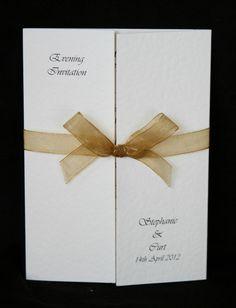 50 Personalised Wedding Invitations Gatefold with Organza Ribbon and Envelopes | eBay