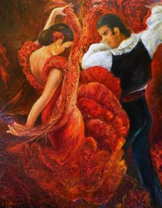 Flamenco Couple 2 Painting by Sylva Zalmanson - Flamenco Couple 2 Fine Art Prints and Posters for Sale