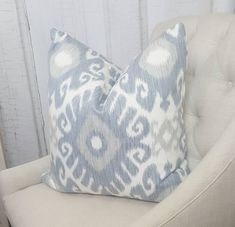 Your place to buy and sell all things handmade : Blue Ikat Pillow Cover Decorative Throw Pillows Euro Pillows, Grey Throw Pillows, Decorative Throw Pillows, Accent Pillows, Grey Pillow Covers, Designer Pillow, Gray, Living Room, Family Room