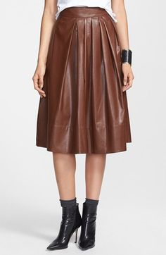 Leith Pleated Faux Leather Town Skirt | Nordstrom