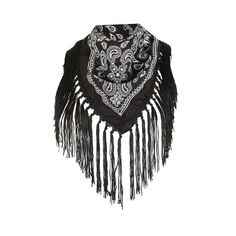 Topshop Fringed Bandana (£7) ❤ liked on Polyvore featuring accessories, scarves, black, bandana scarves, cotton bandanas, fringe scarves, topshop scarves and cotton scarves