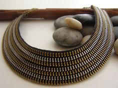 $23+$8 Handmade Metal Zipper Necklace Half Circle Shaped by ChicTime