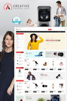 Creative - The Modern Shop is Responsive theme and designed for selling fashion Apparel,Wear,Accessories,Clothing store. Theme is responsive and supports all devices,user-friendly and fine-looking Ecommerce Website Design, Website Design Layout, Modern Shop, Photoshop, Shopping Websites, Pet Store, Design Development, Templates, Pets
