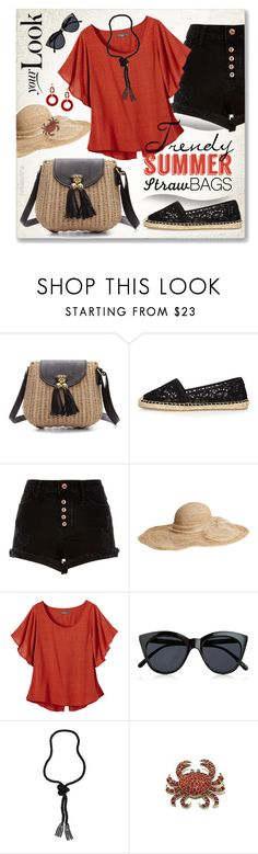 """Trendy Summer: Straw Bags"" by pwhiteaurora ❤ liked on Polyvore featuring River Island, Flora Bella, prAna, Le Specs, Dettagli and strawbags"