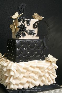 Black and White cake with Butterflies