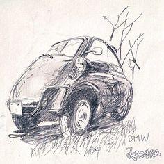 BMW isetta 自分的にはお気に入りの1枚です(^-^) #鉛筆描き #BMW#ビーエム#昔はベームベーと言ってた#isetta#母国のイタリヤの他、ドイツ・フランス・イギリスetc.他国のメーカーでもライセンス生産されていた#バブルカー#指でこすって影を出す#荒々しい線#雑な線
