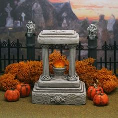 *NEW* Monument#8 *LIGHTED* Miniature Halloween Village Graveyard for Spooky Town