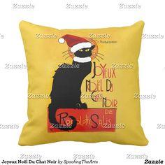 Joyeux Noël Du Chat Noir Throw Pillow