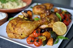 Check out this delicious recipe for Moroccan Roast Chicken and Vegetables from Weber—the world's number one authority in grilling. Roast Chicken, Tandoori Chicken, Weber Bbq Recipes, Vegetable Recipes, Chicken Recipes, Roasted Vegetables With Chicken, Couscous How To Cook, Most Delicious Recipe