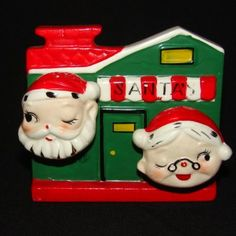 Vintage Santa & Mrs Claus Napkin Holder Holder & Salt Pepper Set