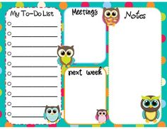 free---Teacher To-do List (Dots & Owls)from teacherspayteachers