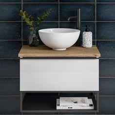 Loft Bathroom, Bathroom Vanity Units, Wall Hung Vanity, Bathroom Furniture, Bathroom Interior, Washroom, Bathroom Ideas, Black Metal Shelf, Metal Shelves