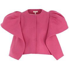 Blazer (83.680 RUB) ❤ liked on Polyvore featuring outerwear, jackets, blazers, fuchsia, fuchsia blazer, pink linen jacket, pink blazer jacket, pink jacket and fuschia blazer