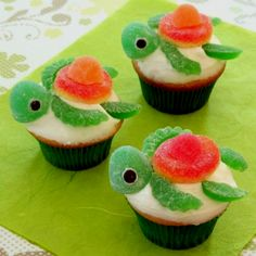 Squirt from finding nemo cupcakes  http://family.go.com/food/recipe-852443-squirt-happy-turtlecakes-t/