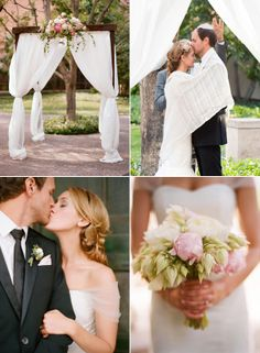 Wood with fabric chuppa ....add a touch more romance with white Christmas lights wrapped around the posts