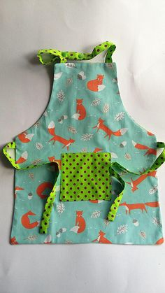Kids Apron, childs Apron, Retro Cotton Fox Fabric with Kam Snap fastening at neck and tie back Fox Fabric, Cotton Fabric, Messy Play, Kids Apron, Tie Backs, Green And Purple, 6 Years, Light Blue