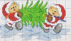 Orsetti con albero di Natale - punto croce  - cross Stitch - Kreuzstich - Punto de Cruz