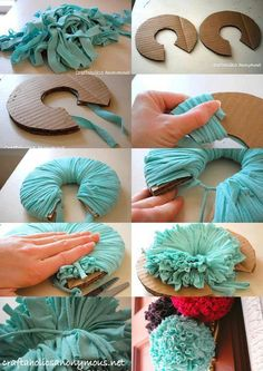 39 Ideas crochet rug carpet pom poms for 2019 Pom Pom Crafts, Yarn Crafts, Home Crafts, Diy And Crafts, Crafts For Kids, Yarn Flowers, Diy Flowers, Crochet Flowers, Paper Flowers