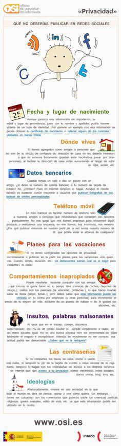 e-learning No publiques en las Redes Sociales. on Web for juandoming curated by juandoming Spanish Teacher, Spanish Classroom, Teaching Spanish, Social Networks, Social Media Marketing, Digital Marketing, Internet Marketing, Social Media Privacy, Safe Internet