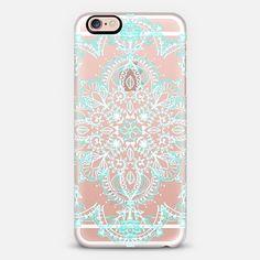 Aqua and White Lace Mandala - transparent