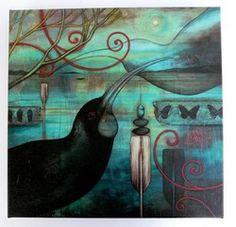 Huia -xl by Kathryn Furniss - prints Art Maori, Exhibition Film, New Zealand Art, Nz Art, Art Portfolio, Bird Prints, Animal Paintings, Artist Painting, Bird Art