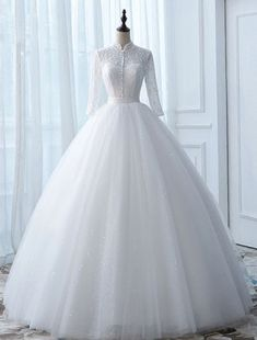 Vintage Wedding Dresses 2017 High Neck Applique Buttons White Glitter Tulle Bridal Gowns in 2020 Hijab Wedding Dresses, Country Wedding Dresses, Princess Wedding Dresses, Colored Wedding Dresses, Dream Wedding Dresses, Bridal Dresses, Fit And Flare Wedding Dress, Sweetheart Wedding Dress, Tea Length Wedding Dress
