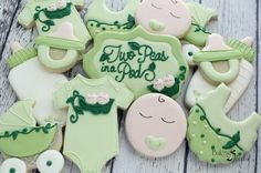 Two Peas In A Pod Baby Shower Cookies Twin Baby by Bakinginheels
